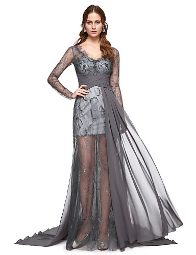 0bcd50efac0d Γραμμή Α Λαιμόκοψη V Ουρά Σιφόν Στυλ Διασήμων Επίσημο Βραδινό Φόρεμα με  Δαντέλα   Πλισέ με TS Couture®   Ψευδαίσθηση 5350327 2019 –  129.99
