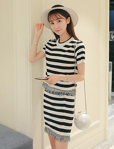 016e1d71 signere stripete todelte kjolen passer fashion kortermet genser fringed  skjørt kvinnelige skjørt 5614323 2019 – $14.69