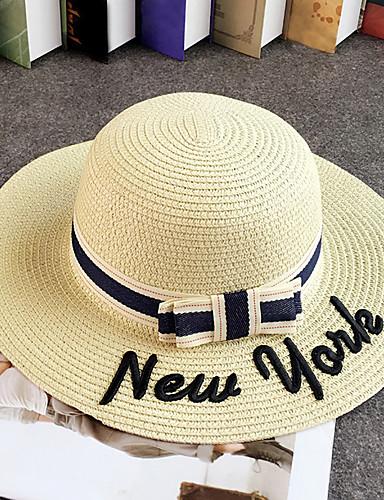 levne Módní doplňky-Žena Słomka Vintage Na běžné nošení Léto Bucket klobouček Slamák Sluneční klobouk