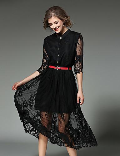 2c4a273e6fcfd Kadın's Dışarı Çıkma Basit Sokak Şıklığı Dantel Elbise - Solid, Dantel Dik  Yaka Midi Yüksek Bel 5577749 2019 – $108.47