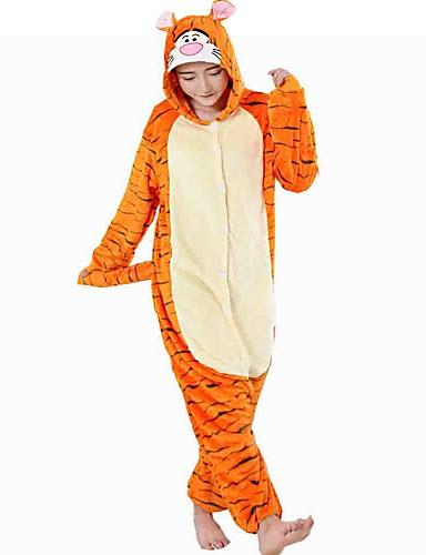 preiswerte Cosplay & Kostüme-Erwachsene Kigurumi-Pyjamas Tiger Pyjamas-Einteiler Flanell Vlies Orange Cosplay Für Herren und Damen Tiernachtwäsche Karikatur Fest / Feiertage Kostüme