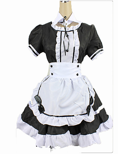 cheap Career & Profession Costumes-Maid Costume Cosplay Costume Women's Christmas Halloween Carnival Festival / Holiday Cotton Black / White Carnival Costumes Solid Colored