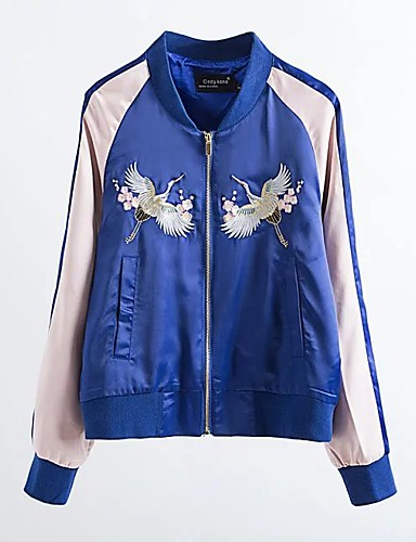[$26.51] Damen Solide Druck Street Schick LässigAlltäglich Jacke,Ständer Frühling Standard Baumwolle Others