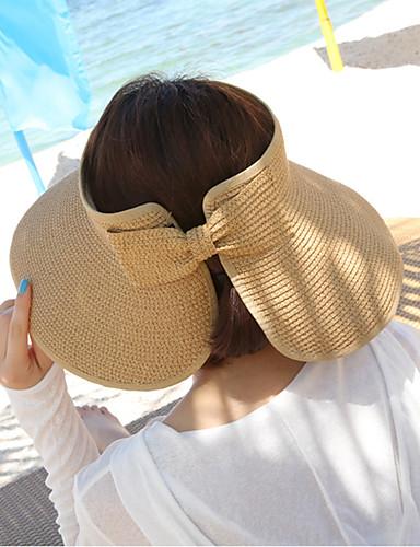 levne Módní doplňky-Dámské Dovolená Slamák Sluneční klobouk-Jednobarevné Sláma Léto Fuchsiová Světle modrá Khaki