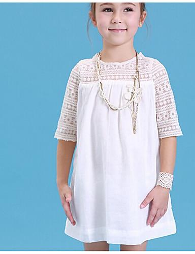 preiswerte Ausverkauf-Kinder Mädchen Solide Halbe Ärmel Kleid Weiß