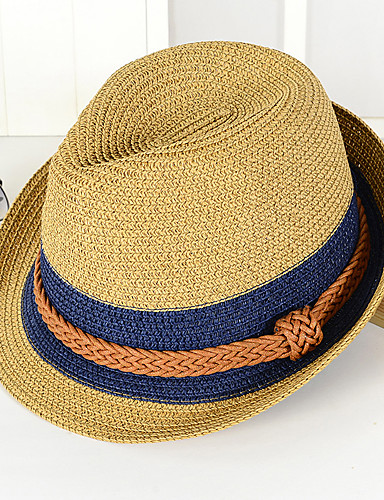 cheap Men's Hats-Unisex Holiday Straw Bucket Hat Straw Hat Sun Hat-Color Block Summer Brown Navy Blue Khaki