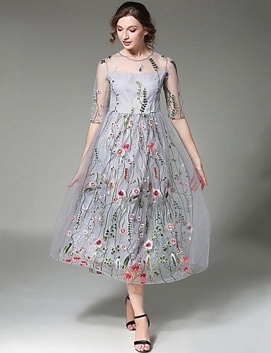 86a0fc523f63 Γυναικεία Κομψό στυλ street Swing Φόρεμα - Κέντημα