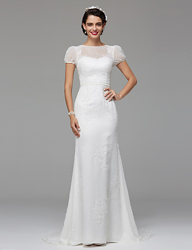 Mermaid / Trumpet Jewel Neck Sweep / Brush Train Lace Tulle Made-To-Measure Wedding Dresses Draping / Lace LAN TING BRIDE® / Illusion Sleeve