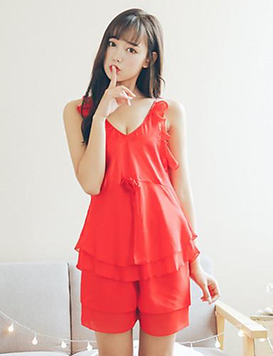 Dámské Pyžama Jednolitý Šifón Trávová zelená Černá Rubínově červená Světlá  růžová Fuchsiová 5604001 2019 –  15.74 f6cdda2dc58