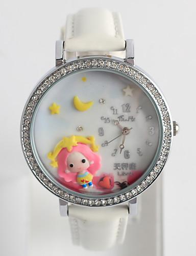 สำหรับผู้หญิง นาฬิกาแฟชั่น นาฬิกาเพชร นาฬิกาอิเล็กทรอนิกส์ (Quartz) ยางทำจากซิลิคอน ดำ / สีขาว / ฟ้า / ระบบอนาล็อก สุภาพสตรี ไม่เป็นทางการ Cartoon - ฟ้า สีชมพู White / Red