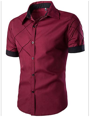 levne Pánské košile-Pánské - Jednobarevné Košile, Základní Široký límeček Štíhlý Černá / Krátký rukáv / Léto