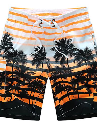 สำหรับผู้ชาย พื้นฐาน / สไตล์ชายหาด / Tropical ขนาดพิเศษ ชายหาด หลวม / กางเกงขาสั้น กางเกง - ลายแถบ ลายต่อ ฤดูร้อน ส้ม ทับทิม สีเหลือง XXXXL XXXXXL XXXXXXL
