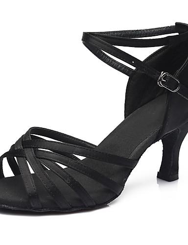 povoljno Cipele za ples-Žene Plesne cipele Saten Cipele za latino plesove / Cipele za salsu Kopča Sandale / Štikle Kubanska potpetica Moguće personalizirati Srebro / Leopard / Tamno smeđa / Seksi blagdanski kostimi / EU40