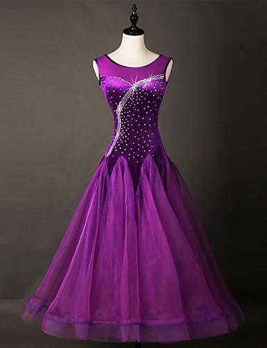 levne Shall We®-Standardní tance Šaty Dámské Výkon Čínský nylon / Organza Křišťály / Bižuterie Bez rukávů Šaty