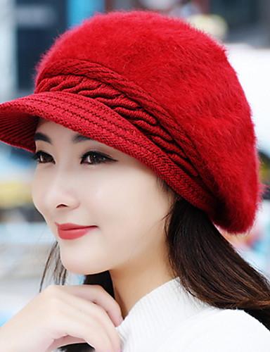 สำหรับผู้หญิง สีพื้น ขนกระต่าย วินเทจ-หมวกเบสบอล สีดำ ไวน์ สีม่วง
