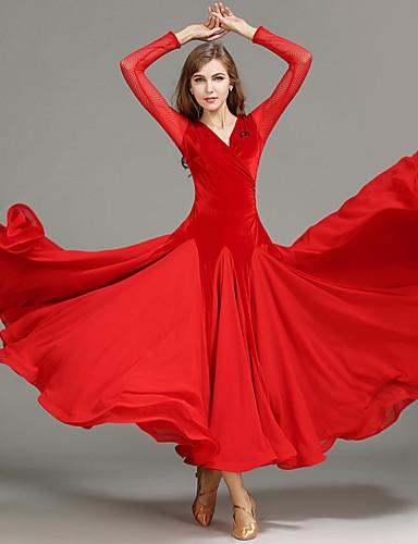cheap Ballroom Dancewear-Ballroom Dance Dress Draping Splicing Women's Performance Long Sleeve Natural Tulle Velvet