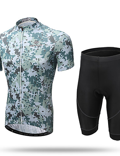 cheap Cycling-XINTOWN Men's Short Sleeve Cycling Jersey with Shorts Summer Elastane Yellow Animal Bike Shorts Jersey Clothing Suit 3D Pad Quick Dry Breathable Reflective Strips Back Pocket Sports Animal Clothing
