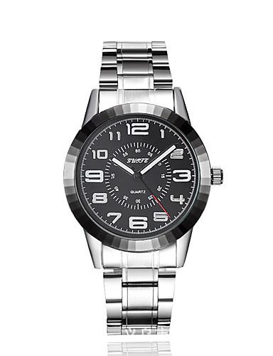 สำหรับผู้ชาย นาฬิกาตกแต่งข้อมือ นาฬิกาแฟชั่น นาฬิกาอิเล็กทรอนิกส์ (Quartz) โลหะผสม วงดนตรี เงิน