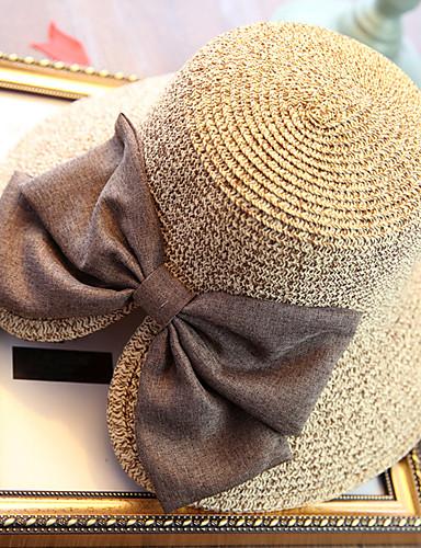 voordelige Mode-accessoires-Dames Vakantie Stro,Effen Strohoed Zonnehoed-Zomer Beige Marineblauw Khaki