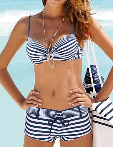 preiswerte Plaids, Stripes & Polka Dots-Damen Geometrisch Halter Grün Rote Marineblau Bikinis Bademode - Gestreift L XL XXL Grün / Sexy