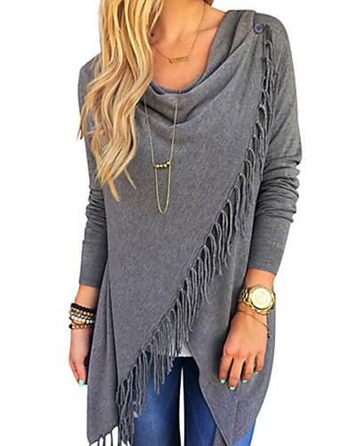 preiswerte Damen-Oberteile-Damen Solide - Street Schick Ausgehen Übergrössen Baumwolle T-shirt Quaste Schwarz