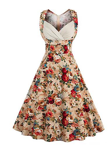 be69f4aca479 Women's Floral Plus Size Daily Going out Vintage Street chic A Line Dress - Floral  Sweetheart Neckline Summer Cotton Black Camel XXL XXXL XXXXL 5592096 2019  ...