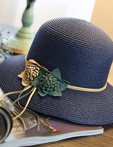 voordelige Mode-accessoires-Dames Street chic Stro,Effen Strohoed Zonnehoed-Zomer Marineblauw Fuchsia Khaki