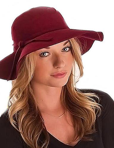 voordelige Mode-accessoires-Dames Vintage Informeel Wol Katoenmix Viscose,Effen Fedora hoed Kameel Wijn Marine Blauw
