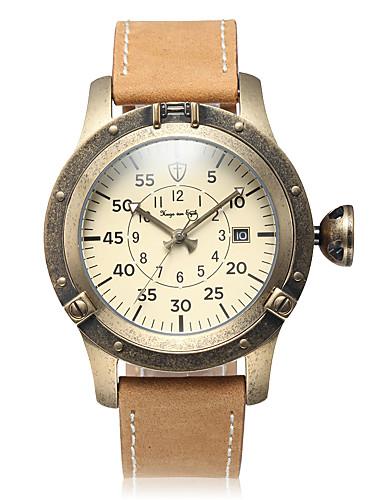 Pánské mechanické hodinky Automatické natahování Kalendář Velký ciferník  Pravá kůže Kapela Retro Běžné nošení Béžová 5594545 2019 –  91.99 0d217df9457