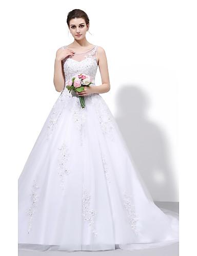 22747707bf3f Plesové šaty Illusion Neckline Velmi dlouhá vlečka Krajka   Tyl Svatební  šaty vyrobené na míru s Korálky   Aplikace podle   Open Back 2713522 2019 –   249.99