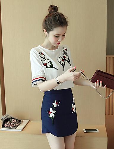 υπογράψει το 2017 κεντημένα λουλούδια ραφές t-shirt παλτό + προτομή  τυλιγμένο μόδα φούστα κοστούμι 5612495 2019 –  15.74 0361adec355