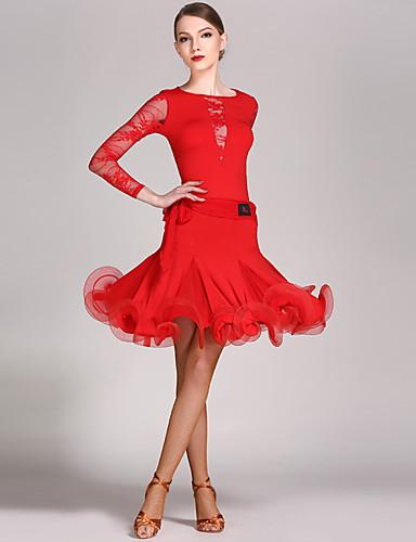 preiswerte Tanzschuhe-Latein-Tanz Austattungen Damen Leistung Spitze / Viskose Rüschen Langarm Normal Gymnastikanzug / Einteiler / Rock / Latintanz