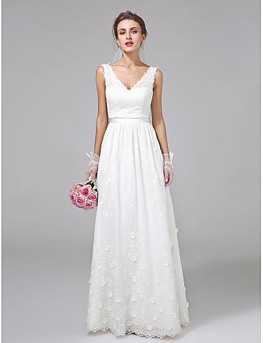 cheap Wedding Dresses-A-Line V Neck Floor Length Lace Regular Straps Simple Illusion Detail Wedding Dresses with Sash / Ribbon / Flower 2020