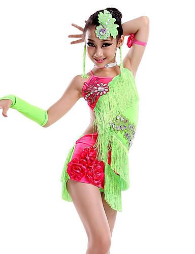 levne Shall We®-Latinské tance Šaty Výkon Süt Filtresi Třásně / Křišťály / Bižuterie Bez rukávů Přírodní Šaty / Rukavice / Doplňky do vlasů