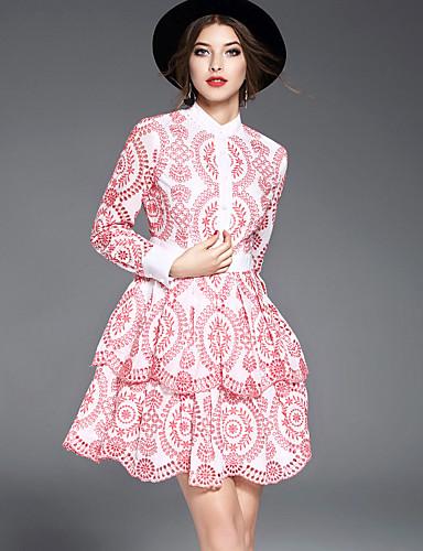0af5142ee [$57.99] Mujer Línea A Vestido Noche Bonito,Bordado Escote Chino Sobre la  rodilla Manga Larga Algodón Primavera Verano Tiro Medio Microelástico