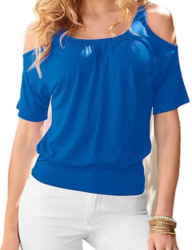 billige Dametopper-Bomull T-skjorte Dame - Ensfarget / Fargeblokk Aktiv Strand Gul / Vår / Sommer