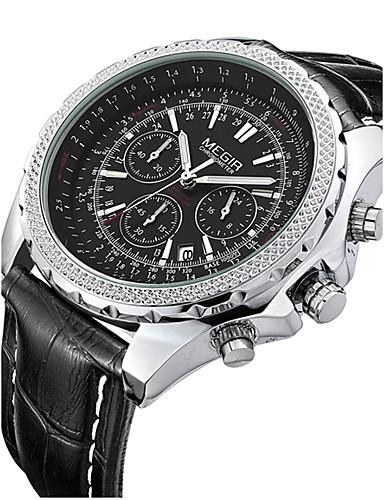 preiswerte MEGIR®-MEGIR Herrn Uhr Armbanduhr Quartz Leder Schwarz / Braun 30 m Kalender Analog Klassisch Retro Schwarz Schwarz Weiß / Braun