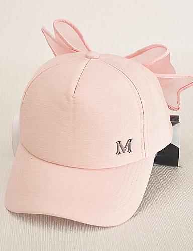 สำหรับผู้หญิง สีพื้น ฝ้าย หมวกเบสบอล ดวงอาทิตย์หมวก สีดำ สีแดงชมพู / น่ารัก