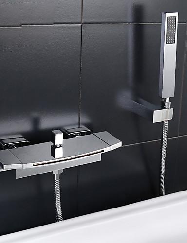 preiswerte Seitendüse-Badewannenarmaturen - Moderne Chrom Badewanne & Dusche Keramisches Ventil Bath Shower Mixer Taps / Zwei Griffe Zwei Löcher