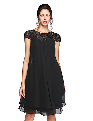 cheap Clearance-A-Line Mother of the Bride Dress Elegant Plus Size Illusion Neck Knee Length Chiffon Lace Short Sleeve with Sequin 2020