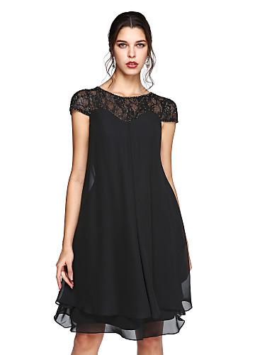 זול חיסול-גזרת A שמלה לאם הכלה  אלגנטית מידה גדולה אשליה באורך  הברך שיפון תחרה שרוולים קצרים עם נצנצים 2020