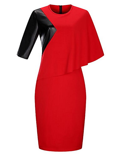 Womens Plus Size Cotton Bodycon Dress Floral Color Block Red