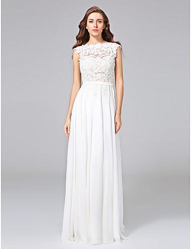 cheap Wedding Dresses-Sheath / Column Bateau Neck Sweep / Brush Train Chiffon / Floral Lace Cap Sleeve Romantic Illusion Detail / Backless Wedding Dresses with Bowknot / Sash / Ribbon 2020