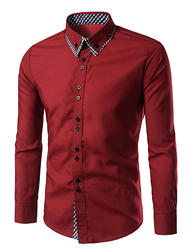 Men's Check Shirt Casual Daily Button Down Collar White / Black / Red / Royal Blue / Navy Blue / Spring / Fall / Long Sleeve
