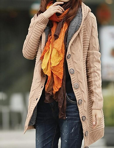 billige Dametopper-Dame Daglig Ensfarget Langermet Normal Cardigan Genserjumper, Med hette Vår Bomull Hvit / Blå / Rød En Størrelse