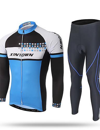 povoljno Odjeća za vožnju biciklom-XINTOWN Muškarci Dugih rukava Biciklistička majica s tajicama Crn Bicikl Hlače Biciklistička majica Sportska odijela Prozračnost Pad 3D Quick dry Ultraviolet Resistant Reflektirajuće trake Sportski