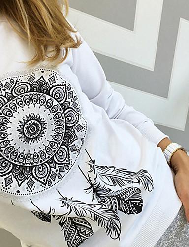 billige Dametopper-Bomull Sommerfuglermer Store størrelser T-skjorte Dame - Tribal, Trykt mønster Gatemote Hvit / Vår / Høst