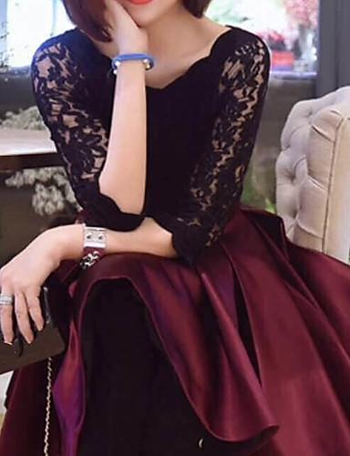 preiswerte Kleid-Damen Party Ausgehen Anspruchsvoll Spitze Skater Kleid - Schleife Gefaltet, Solide Knielang