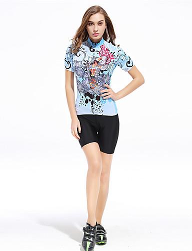 povoljno Odjeća za vožnju biciklom-XINTOWN Žene Kratkih rukava Biciklistička majica s kratkim hlačama Svjetloplav Veći konfekcijski brojevi Bicikl Kratke hlače Hlače Biciklistička majica Prozračnost Quick dry Ultraviolet Resistant