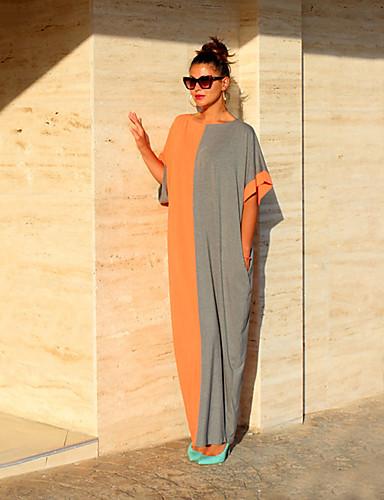 levne Maxi šaty-Dámské Párty Volné Shift Šaty - Barevné bloky, Patchwork Maxi Černá a Bílá